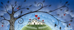 Tree Hearts by Chloe Nugent - Original Glazed Mixed Media on Board sized 24x10 inches. Available from Whitewall Galleries
